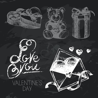 Valentinstag handgezeichnete tafel design-set. schwarze kreide textur