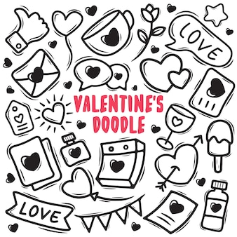 Valentinstag handgezeichnetes gekritzel