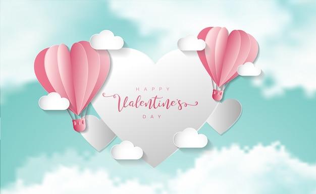 Valentinstag . heißluftballon fliegende herzen auf der wolke schweben. illustration.