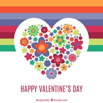 Valentinstag herz aus blumen