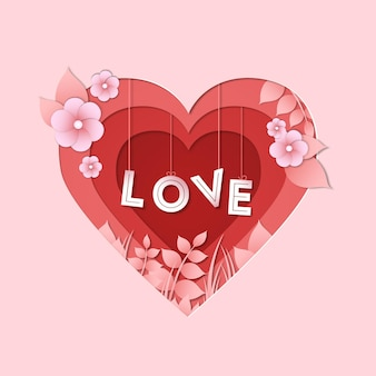 Valentinstag herz im papierstil