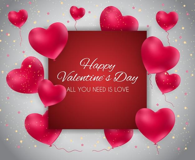 Valentinstag-herz-liebes- und gefühlsgrußkarte