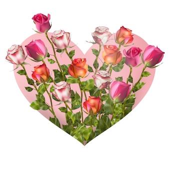 Valentinstag herz mit rosen auf weißem hintergrund. datei enthalten