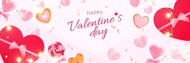 Valentinstag herzen banner mit bearbeitbaren verzierten text und fliegenden süßigkeiten herzen und geschenkboxen
