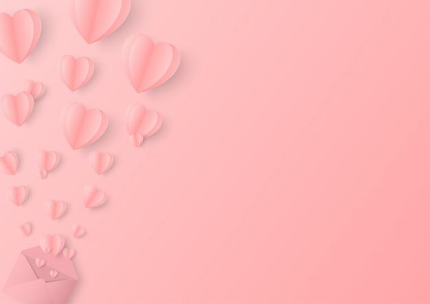 Valentinstag herzen mit umschlag postkarte.