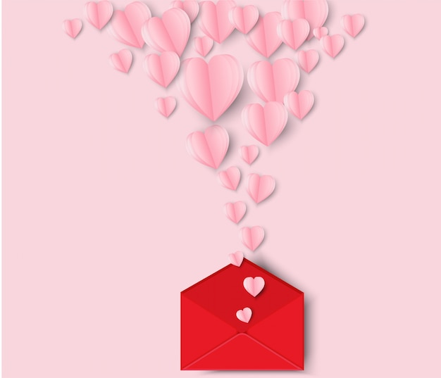 Valentinstag herzen und brief. origami machte das papierherz, das heraus weg vom buchstaben fliegt. Premium Vektoren