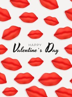 Valentinstag hintergrund design mit realistischen lippen illustration