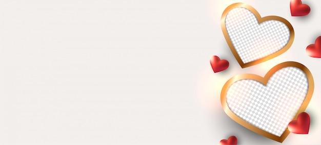 Valentinstag hintergrund. fotorahmen design.