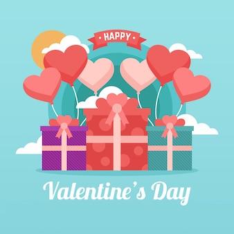 Valentinstag hintergrund geschenkbox