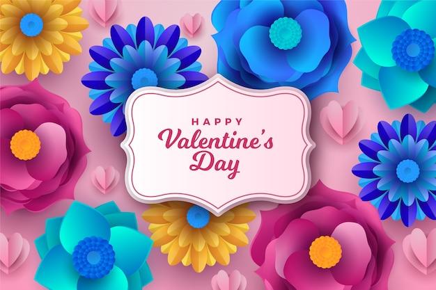 Valentinstag hintergrund im papierstil
