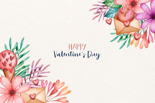 Valentinstag hintergrund in aquarell