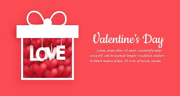 Valentinstag hintergrund mit einem herzen in einer geschenkbox.