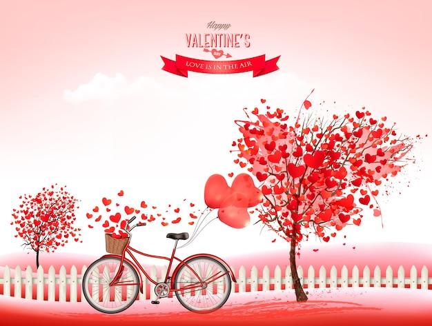 Valentinstag hintergrund mit einem herzförmigen bäumen und einem fahrrad.