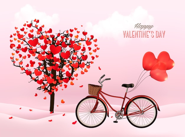 Valentinstag hintergrund mit einem herzförmigen baum und einem fahrrad mit herzförmigen luftballons