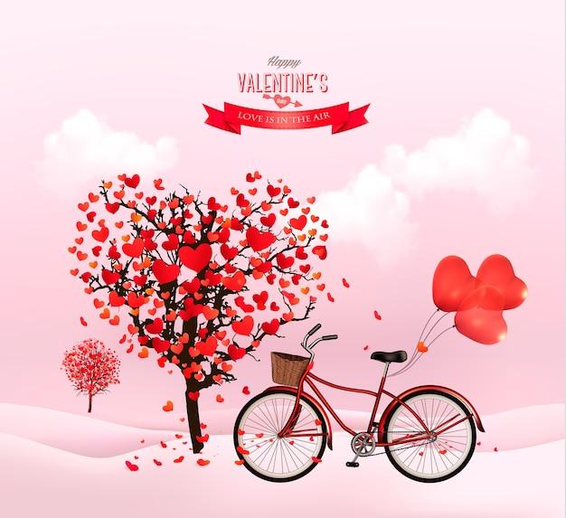 Valentinstag hintergrund mit einem herzförmigen baum und einem fahrrad