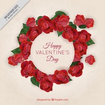 Valentinstag hintergrund mit floralen rahmen