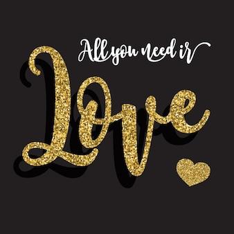 Valentinstag hintergrund mit goldglitter typographie
