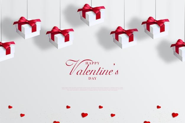 Valentinstag hintergrund mit hängenden weißen geschenkbox.