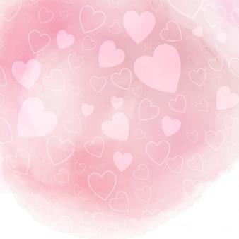 Valentinstag hintergrund mit herzen auf rosa aquarell textur
