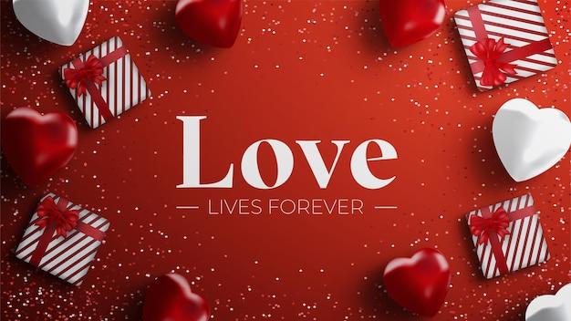 Valentinstag hintergrund mit herzen und geschenkbox