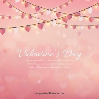 Valentinstag hintergrund mit lichterketten