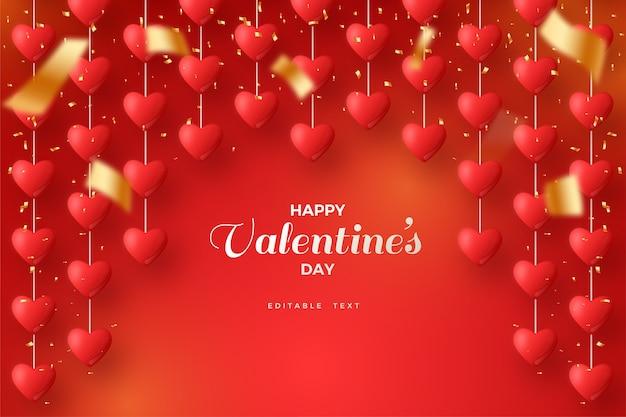 Valentinstag hintergrund mit liebesballons hängen auf rotem hintergrund