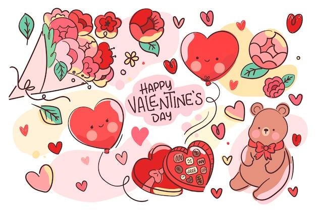 Valentinstag hintergrund mit niedlichen elementen