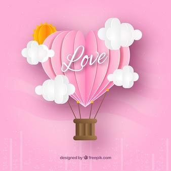 Valentinstag hintergrund mit origami-stil