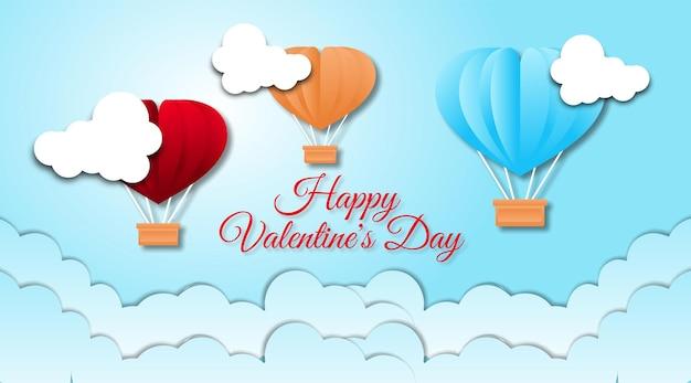Valentinstag hintergrund mit papierschnitt stil