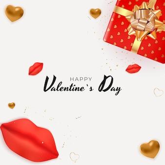 Valentinstag hintergrund mit realistischen lippen und herzen.