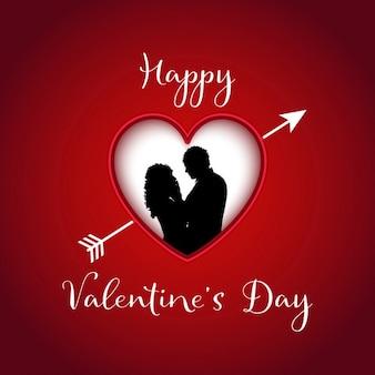 Valentinstag hintergrund mit silhouette eines paares in einem herzen