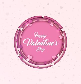 Valentinstag hintergrund. papierkunst mit herzen