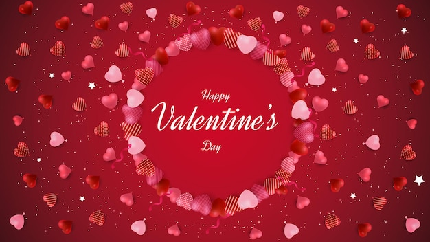 Valentinstag hintergrunddesign mit kreis liebe formen