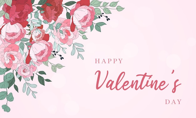 Valentinstag hintergrunddesign mit schönen blumen