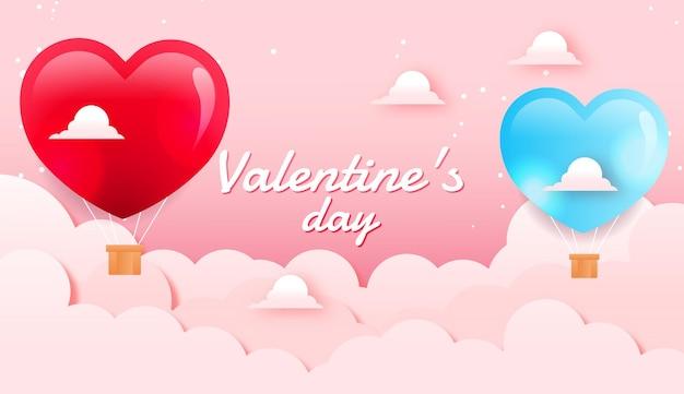 Valentinstag hintergrundkonzept im papierstil