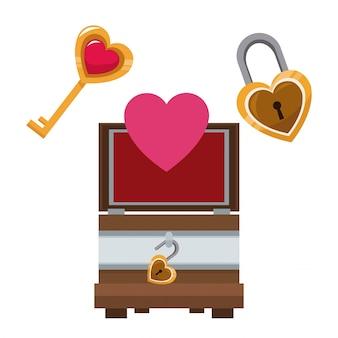 Valentinstag holzkiste herz schlüssel und schloss