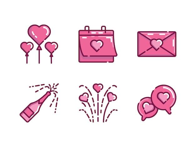 Valentinstag-icon-set