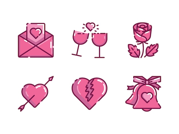 Valentinstag-icon-set