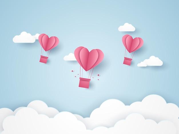 Valentinstag illustration der liebe rosa herz heißluftballons, die in den blauen himmel fliegen