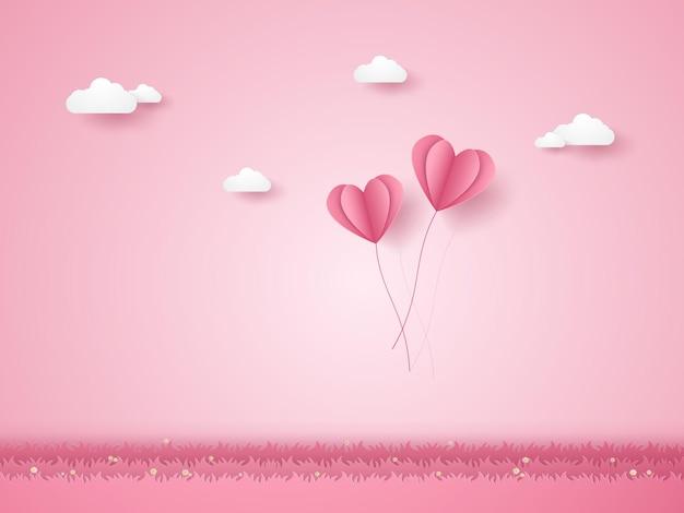 Valentinstag, illustration der liebe, rosa herzballons, die über gras fliegen, papierkunststil