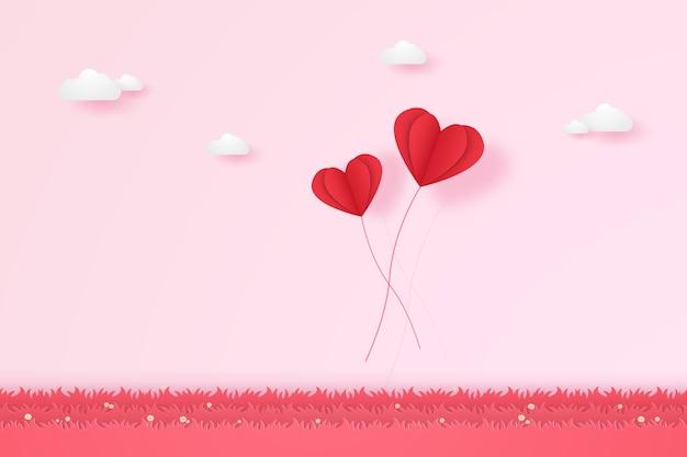Valentinstag, illustration der liebe, rote herzballons, die auf gras fliegen, papierkunststil