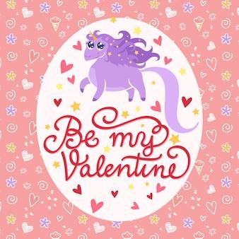 Valentinstag illustration mit einhorn, handschrift und doodle-muster