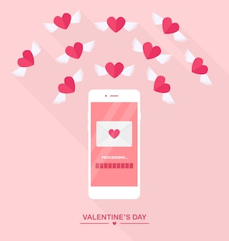 Valentinstag illustration. senden oder empfangen sie liebes-sms, briefe, e-mails mit dem handy. weißes handy lokalisiert auf hintergrund. umschlag, fliegendes rotes herz mit flügeln. flaches design, symbol.