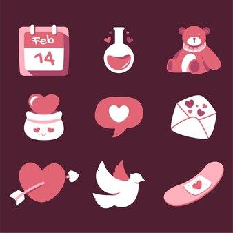 Valentinstag illustrationen für symbol und aufkleber gesetzt