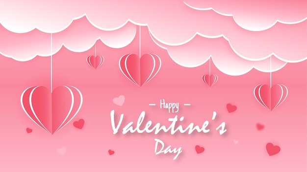 Valentinstag im modernen papierstil