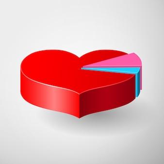 Valentinstag infografiken mit herz diagramm
