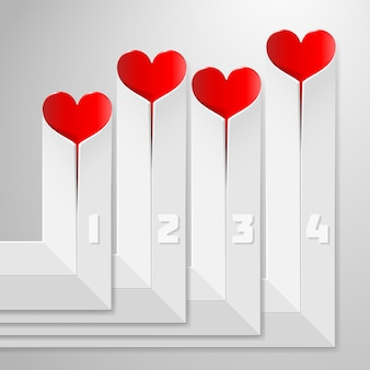 Valentinstag infografiken mit herzen