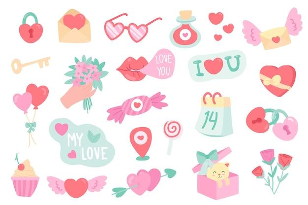 Valentinstag isolierte objekte set sammlung von herzschloss schlüssel buchstaben gläser liebestrank