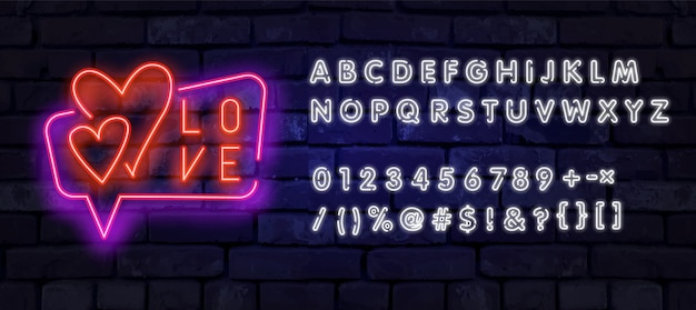 Valentinstag ist ein vorschlag, eine banner-vorlage im neon-stil.