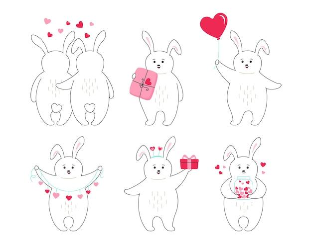 Valentinstag kaninchen cartoon set